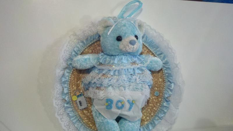 Blue teddy bear wall hanging