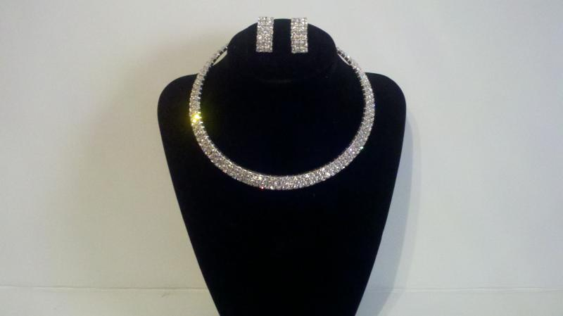 Silver tone rhinestone necklace and matching earrings
