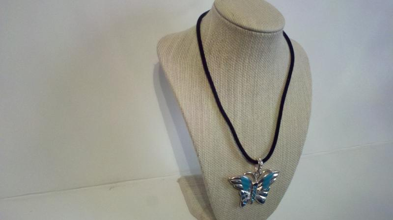 Black shoe string butterfly necklace/ Costume jewelry