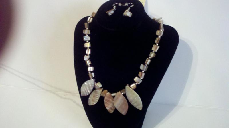 Grey seashell type necklace with matching pebble pierced earring