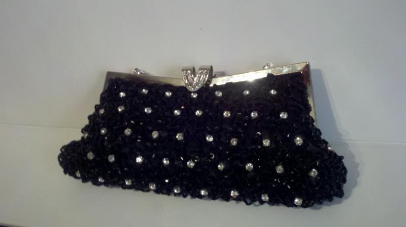 Black rhinestone beaded clutch purse