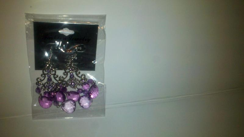 Fashion:  purple drop pierced earrings