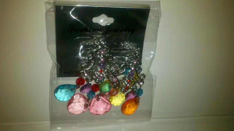 Fashion:  multicolored drop pierced earrings