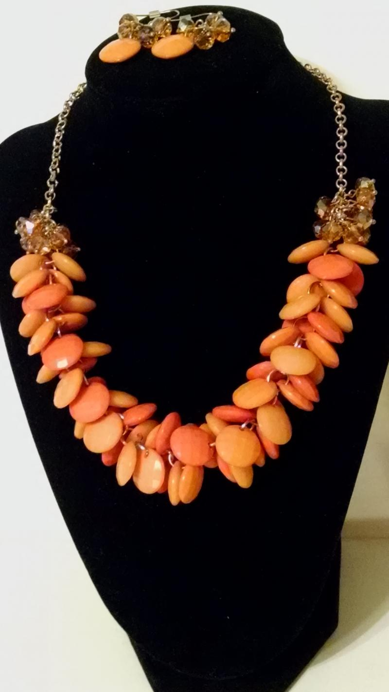 Prizma Orange Bead necklace with matching pierced earrings