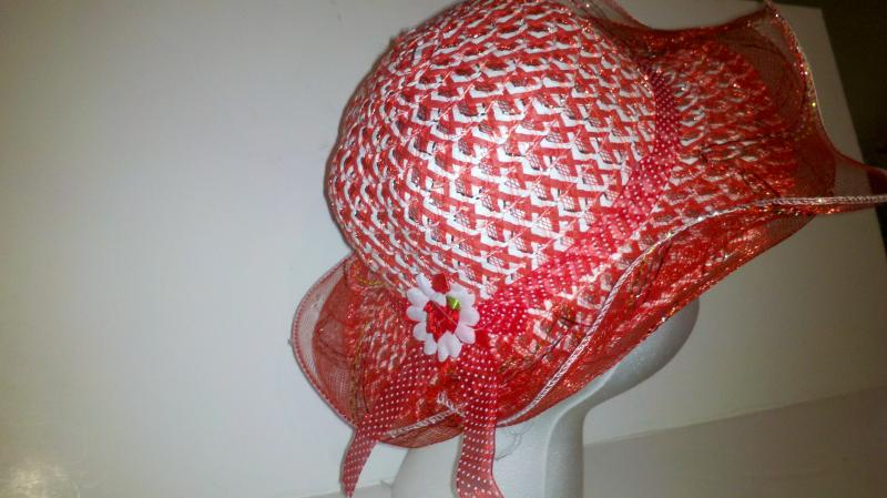 Red and White Girl's Easter Hat